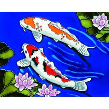 "14"" x 11"" Two Kois Art Tile in Multi"