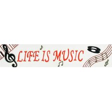 "16"" x 3"" Life is Music Art Tile in Multi"
