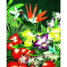 "14"" x 11"" Tropical Flowers and Humming Bird Art Tile in Multi"