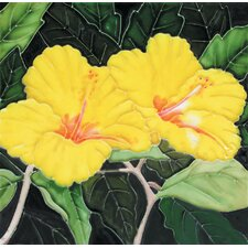 "<strong>En Vogue</strong> 8"" x 8"" Yellow Hibiscuses Art Tile"