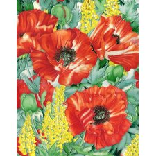 "14"" x 11"" Poppies Art Tile in Red"