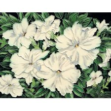 "14"" x 11"" Flowers Art Tile in White"