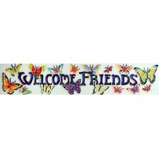 "16"" x 3"" Welcome Friends Art Tile in Multi"