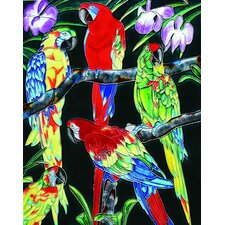 "14"" x 11"" Group of Parrots Art Tile in Multi"