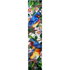 "16"" x 3"" Blue Birds Art Tile in Multi"