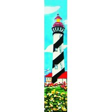 "16"" x 3"" White and Black Light House Art Tile in Multi"