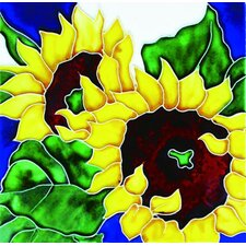 "8"" x 8"" 2 Sunflowers Art Tile in Yellow"
