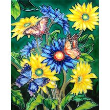 "14"" x 11"" Gerbera and Butterflies Art Tile in Multi"