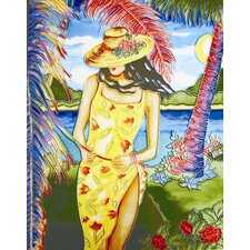 "14"" x 11"" Lady in Yellow Dress Art Tile"
