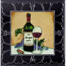 "<strong>En Vogue</strong> 12"" x 12"" Frame - Las Ojas Red Wine Bottle Art Tile in Multi"