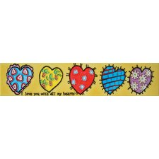 "<strong>En Vogue</strong> 16"" x 3"" I Love You with All My Hearts Art Tile in Multi"