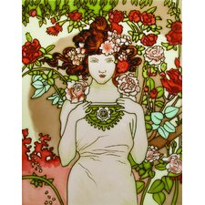 "14"" x 11"" Lady with Flowers Art Tile in Multi"