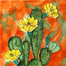 "8"" x 8"" Cactus with Yellow Flowers Art Tile"