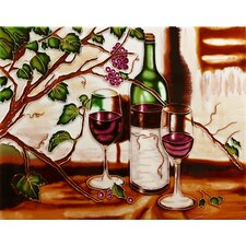 "14"" x 11"" Two Glasses of Red Wines with Bottle Art Tile in Multi"