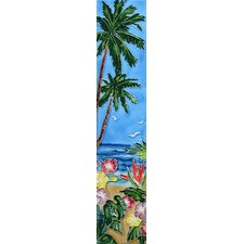 "16"" x 3"" Palm Trees and Flowers Art Tile in Blue"