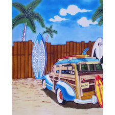 "14"" x 11"" Blue Woody Car Art Tile in Multi"