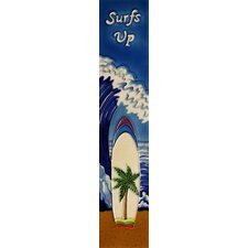 "16"" x 3"" Surfs Up Art Tile in Blue"