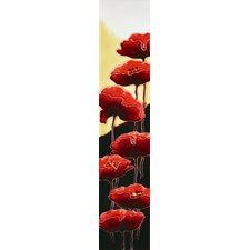 "16"" x 3"" Poppies Art Tile in Red"