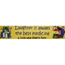 "16"" x 3"" Laughter is Always the Best Medicine... Art Tile in Yellow"