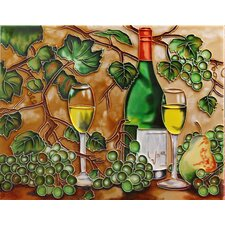 "14"" x 11"" Wines with Grapes Art Tile in Multi"