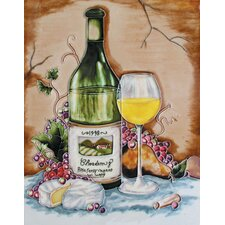 "<strong>En Vogue</strong> 14"" x 11"" Chardonnay Bottle, Glass, Brie, Pear and Purple Grapes Art Tile in Multi"