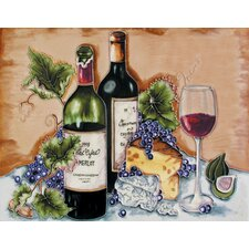 "14"" x 11"" Duel Bottles, Wine Testing Art Tile in Multi"