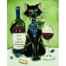 "14"" x 11"" Feline Wine Black Cat with Cabernet and Green Background Art Tile"