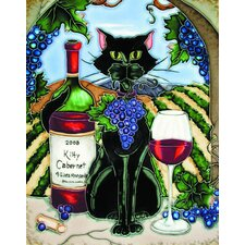 "14"" x 11"" Feline Wine Black Cat with Cabernet and Vineyard Background Art Tile"