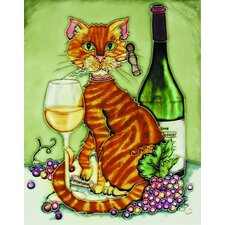 "14"" x 11"" Feline Wine Orange Cat with Chardonnay and Corkscrew/Green Background Art Tile"