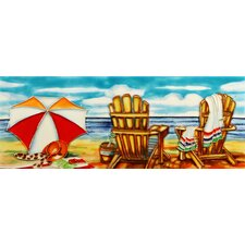 "16"" x 6"" Beach Chair and Umbrella II Art Tile in Multi"