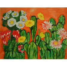 "14"" x 11"" Cactus with Flowers Art Tile in Multi"