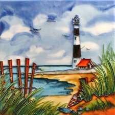 "8"" x 8"" Light House Art Tile in Multi"