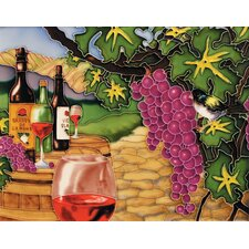 "14"" x 11"" Wine and Grape Art Tile in Multi"