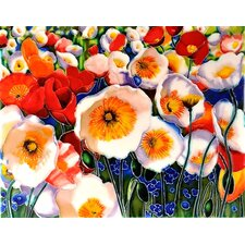 "14"" x 11"" Poppies Land Art Tile in Multi"