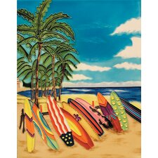 "14"" x 11"" Surfboards on Beach Art Tile in Multi"
