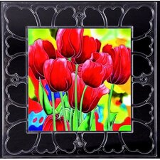 "<strong>En Vogue</strong> 12"" x 12"" Frame - Tulips Art Tile in Red"
