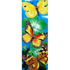 "16"" x 6"" Butterflies with Green Flower Art Tile"