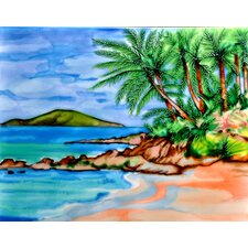 "14"" x 11"" Palm Tree and the Beach Art Tile in Multi"