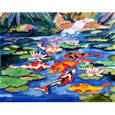 "14"" x 11"" Koi Pond Art Tile in Multi"