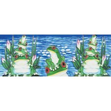 "16"" x 6"" Frogs Art Tile in Multi"