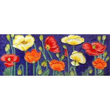 "16"" x 6"" Poppies Art Tile in Multi"
