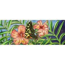 "16"" x 6"" Butterfly and Flowers Art Tile in Multi"