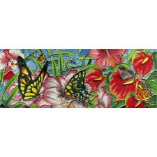 "16"" x 6"" Butterflies Forest Art Tile in Multi"