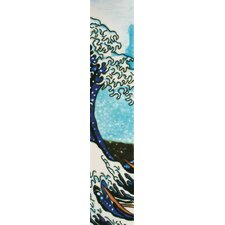 "16"" x 3"" Japanese Wave Art Tile in Blue"