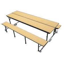 Mobile Folding Cafeteria Convertible Bench and Table