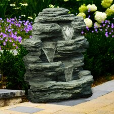 Polyresin Cascading Stone Waterfall Fountain