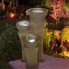 <strong>Pure Garden</strong> Lighted Polyresin Cascading Bowls Tiered Fountain