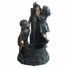 Polyresin Boy and Girl Sculptural Fountain