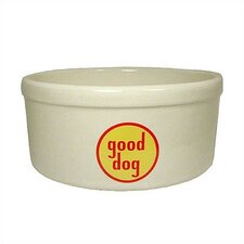 Good Dog Logo Porcelain Dog Water Bowl