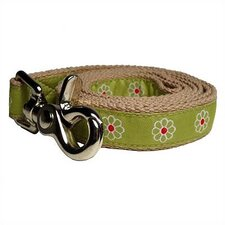 Green Daisy Cotton Dog Leash